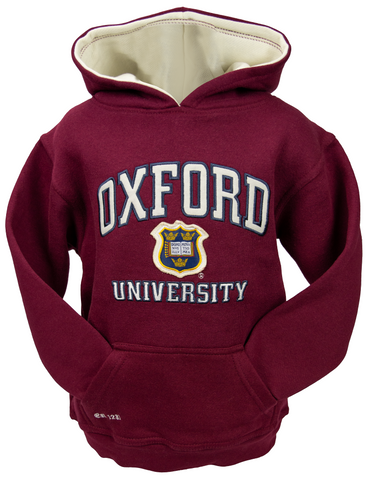 OU129K Kids Licensed Unisex Oxford University Hooded Sweatshirt Maroon - British Heritage Brands