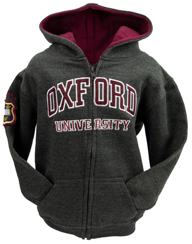 OU129 Licensed Kids Zipped Oxford University Hooded Sweatshirt Charcoal - British Heritage Brands