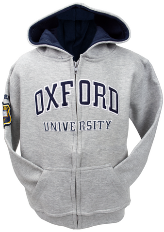 OU129 Licensed Kids Zipped Oxford University Hooded Sweatshirt Grey - British Heritage Brands