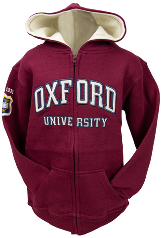 OU129 Licensed Kids Zipped Oxford University Hooded Sweatshirt Maroon - British Heritage Brands