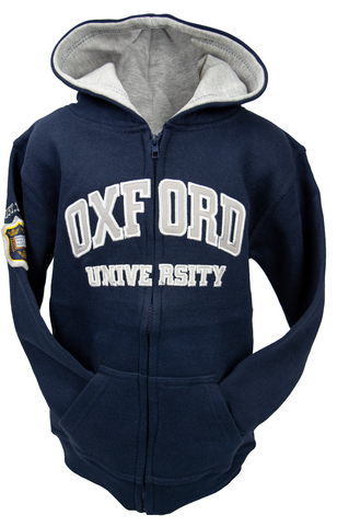 OU129 Licensed Kids Zipped Oxford University Hooded Sweatshirt Navy - British Heritage Brands