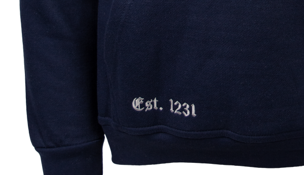 OU129 Licensed Unisex Oxford University Hooded Sweatshirt Navy/Grey - British Heritage Brands