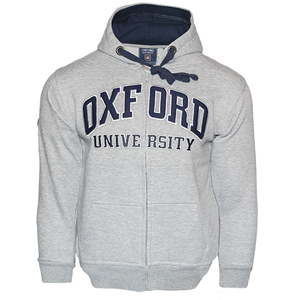 OU129 Licensed Zipped Unisex Oxford University Hooded Sweatshirt Grey - British Heritage Brands