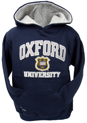 OU129K Kids Licensed Unisex Oxford University Hooded Sweatshirt Navy - British Heritage Brands