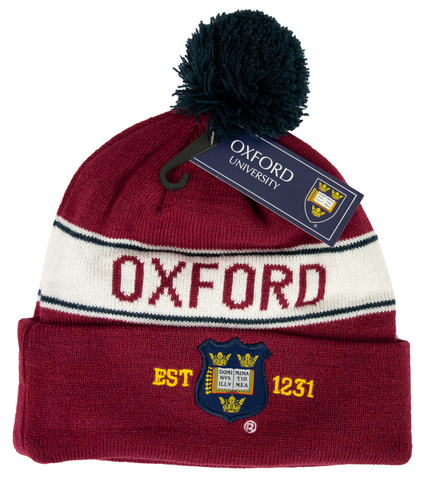 OUB102 Licensed Unisex Oxford University Pom Pom Ski Hat Maroon - British Heritage Brands