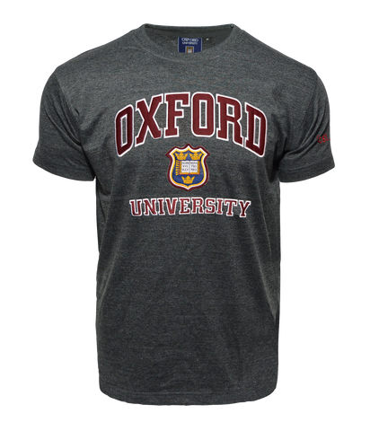 Unisex Oxford University Applique Embroidery T Shirt Charcoal - British Heritage Brands