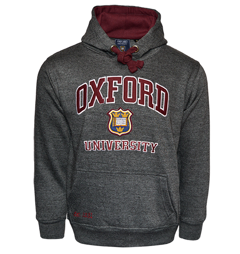 OU129 Licensed Unisex Oxford University Hooded Sweatshirt Charcoal - British Heritage Brands