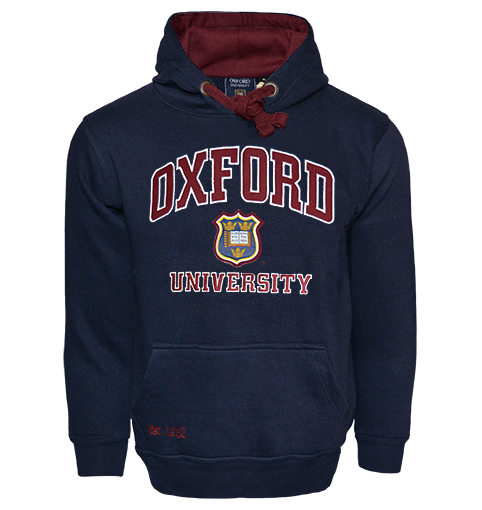OU129 Licensed Unisex Oxford University Hooded Sweatshirt Navy - British Heritage Brands