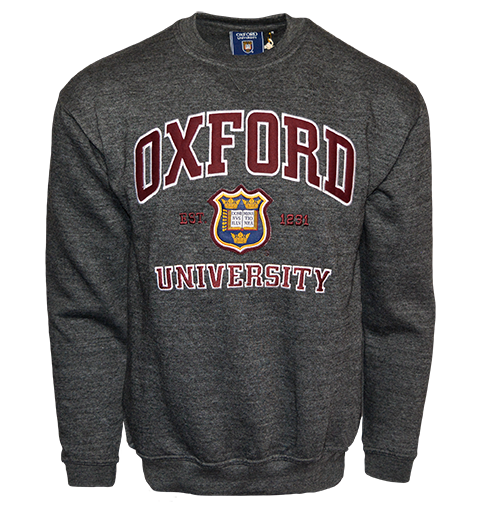OU201 Unisex Licensed Oxford University Sweatshirt Charcoal - British Heritage Brands