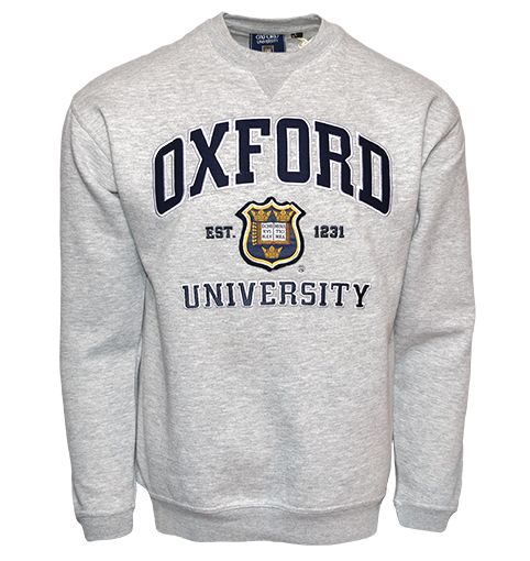 OU201 Unisex Licensed Oxford University Sweatshirt Sports Grey - British Heritage Brands