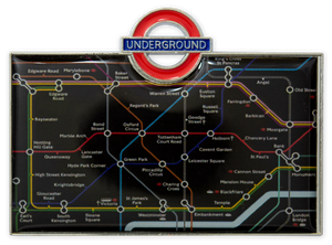 TFL3011 Licensed Underground Tube Map Fridge Magnet Black - British Heritage Brands