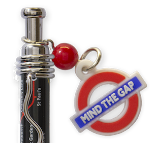 TFL5001 Allover Print Underground Map with Mind the Gap Charm-Black - British Heritage Brands
