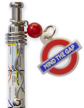 TFL5002 Allover Print Underground Map with Mind the Gap Charm-White - British Heritage Brands
