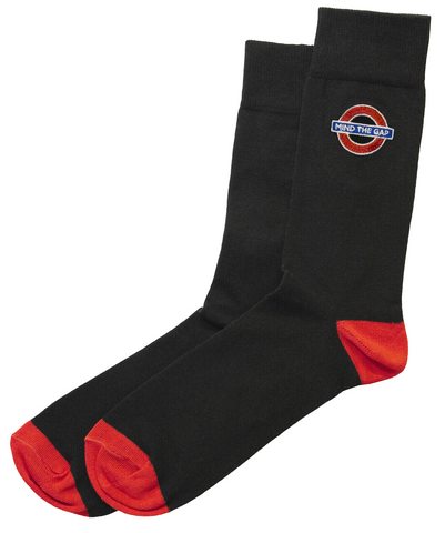 TFL6307 Ladies Licensed Mind the Gap Roundel Embroidery Sock Size 4-7 - British Heritage Brands