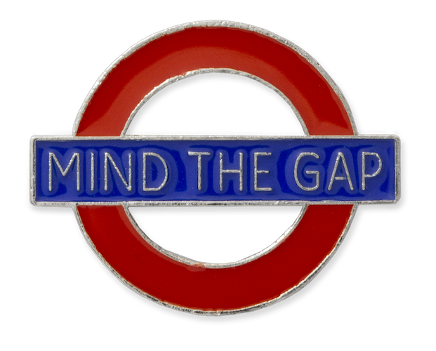 TFL7002 Licensed Mind the Gap Roundel Pin Badge - British Heritage Brands