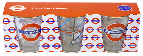 Licensed TFL Underground Tube Map London set of 3 Shot Glasses - British Heritage Brands