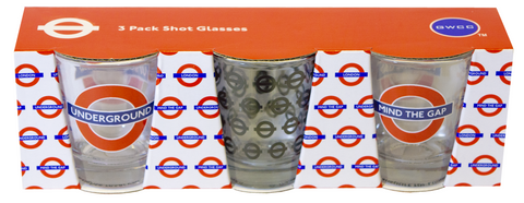 Licensed TFL Underground, Mind the gap, set of 3 Shot Glasses - British Heritage Brands