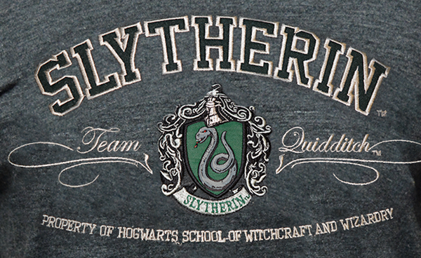 Licensed Unisex Applique Embroidery Slytherin T Shirt Harry Potter - British Heritage Brands