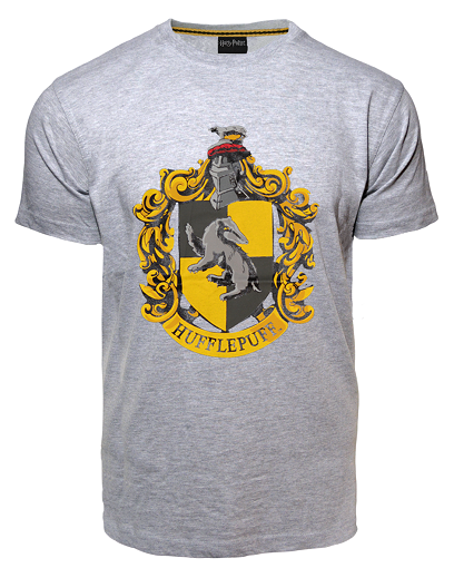 Licensed Unisex Printed Harry Potter Hufflepuff T Shirt Charcoal - British Heritage Brands