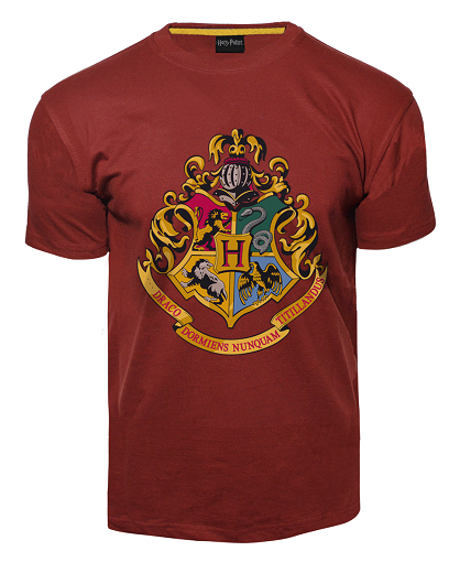 Licensed Unisex Printed Harry Potter Hogwarts T Shirt Maroon - British Heritage Brands