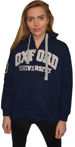 OU129 Licensed Zipped Unisex Oxford University Hooded Sweatshirt Navy - British Heritage Brands
