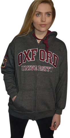 OU129 Licensed Zipped Unisex Oxford University Hooded Sweatshirt Charcoal - British Heritage Brands