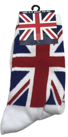 Ladies Union Jack Sock White Size 4-7 (UK) - British Heritage Brands
