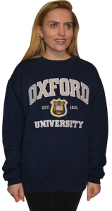 OU201 Unisex Licensed Oxford University Sweatshirt Navy - British Heritage Brands