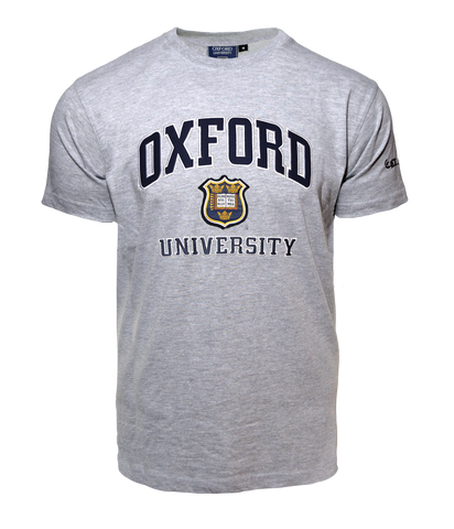 Unisex Oxford University Applique Embroidery T Shirt Grey - British Heritage Brands