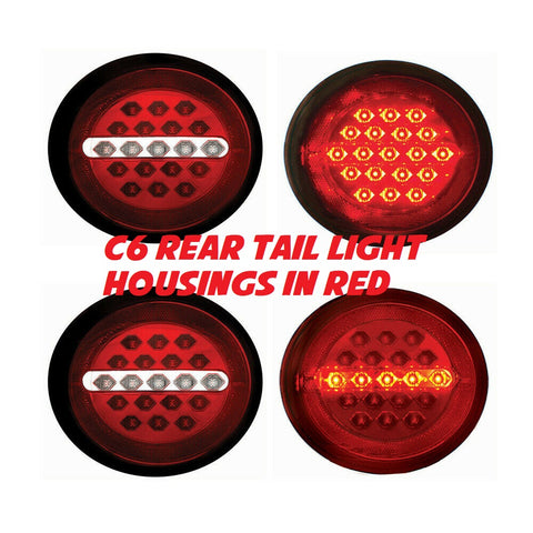 C6 Rear LED Tail Light Housings in RED