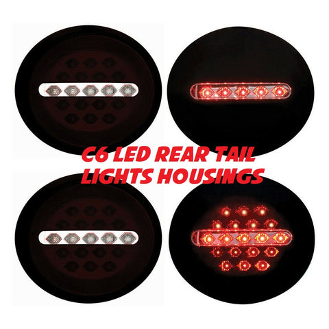 C6 Rear LED Tail Light Housings in BLACK