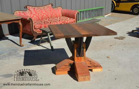 Industrial Farmhouse Artisan Base With Square Timber Top