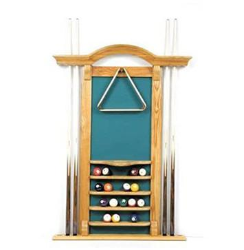 Berner Billiards 6 Cue Arch Top Wall Rack in Oak