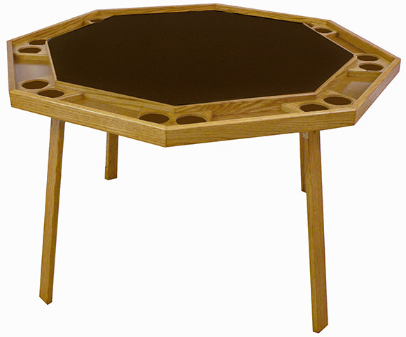 Kestell 8-Player Oak Folding Poker Table