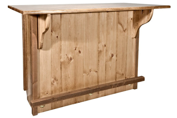 Montana Woodworks Homestead Bar with Foot Rail - Stained & Lacquered