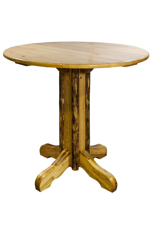 Montana Woodworks Glacier Country Log Pedestal Pub Table