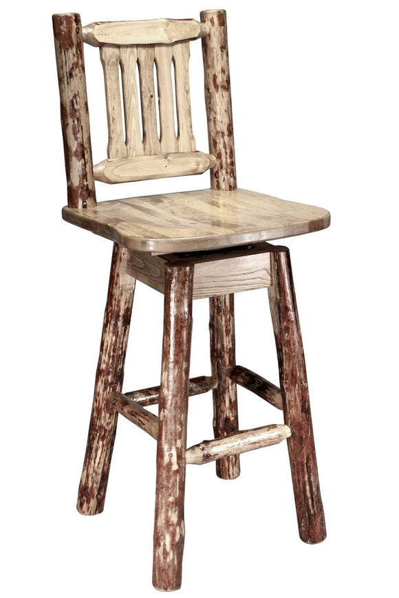Montana Woodworks Glacier Country Log Barstool with Swivel Seat