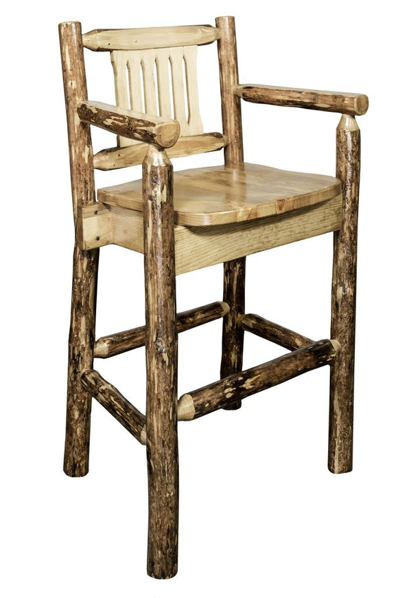 Montana Woodworks Glacier Country Captains Barstool with Back
