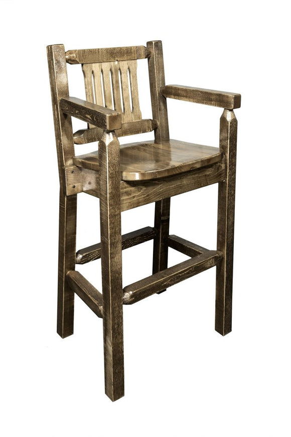 Montana Woodworks Homestead Captains Barstool with Back - Stained and Lacquered