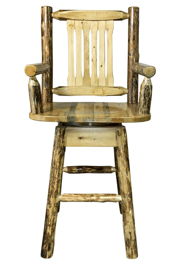 Montana Woodworks Glacier Country Captains Barstool with Swivel Seat