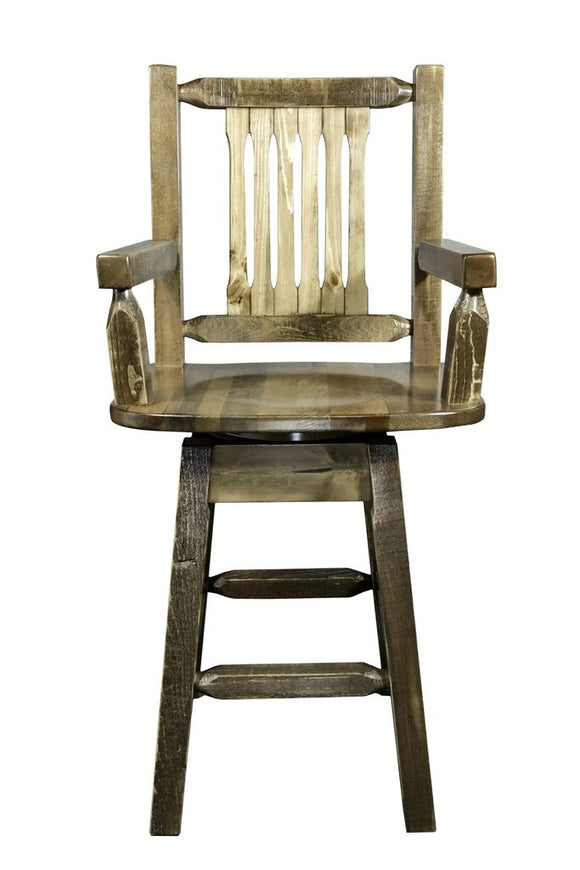 Montana Woodworks Homestead Captains Swivel Barstool - Stained and Lacquered