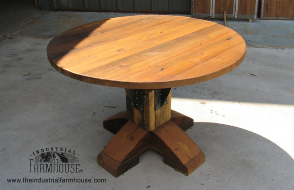 Industrial Farmhouse Artisan Base With Round Timber Top