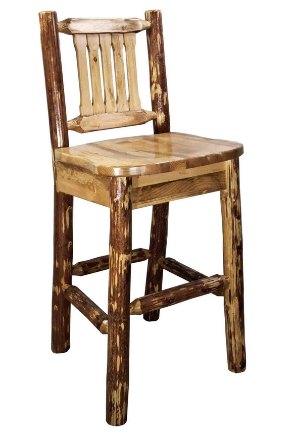 Montana Woodworks Glacier Country Log Barstool with Back