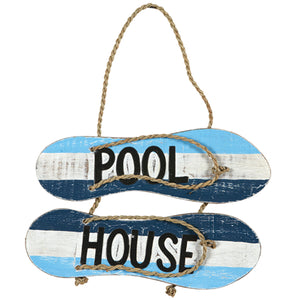 "RAM Game Room ""Pool House"" Flip Flops Acacia Wood Art Sign"