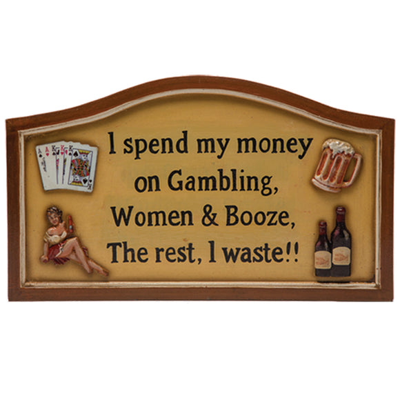 "RAM Game Room ""I Spend My Money"" Wall Art Sign"