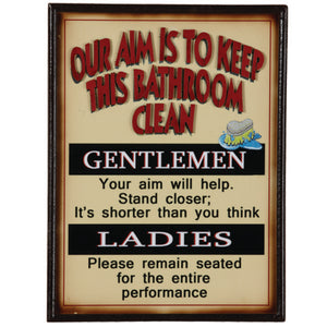 "RAM Game Room ""Our Aim Is to Keep This Bathroom Clean"" Wall Art Sign"