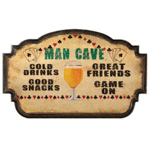 "RAM Game Room ""Man Cave - Cold Drinks, Good Snacks"" Wall Art Sign"