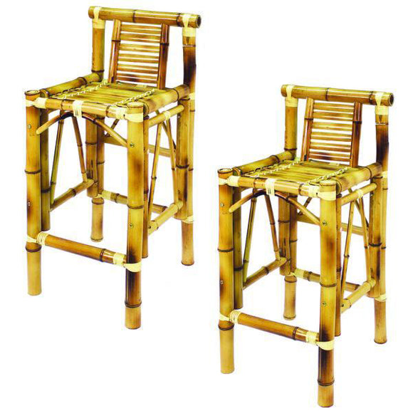 RAM Game Room Set of Two Bamboo Tiki Bar Stools