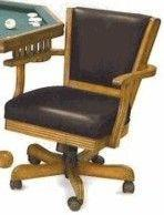 Berner Billiards Chair in Oak with Leather Back