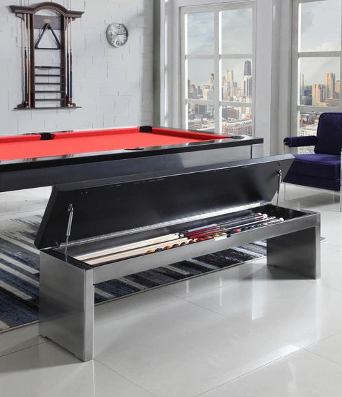 Playcraft Bench for Monaco Slate Pool Table, Black on Silver